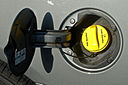 Typical FlexFuel filler door label and yellow cap 12 MIA 12 2008